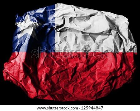 Chili. Chile flag  painted on crumpled paper on black background