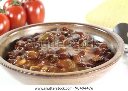 Chili con carne with kidney beans, beef and peppers
