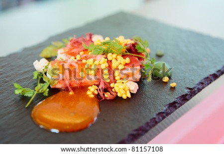 Chili crab cooked in modern way with molecular egg yolk caviar