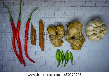 Chili, ginger garlic and cinnamon. Spices and spices from Asia that are used for cooking