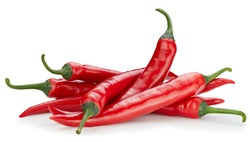 Chili hot pepper clipping path. Chili pepper isolated on a white background. Fresh pepper