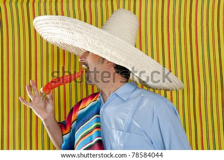 Chili hot pepper Mexican man typical poncho serape Mexico