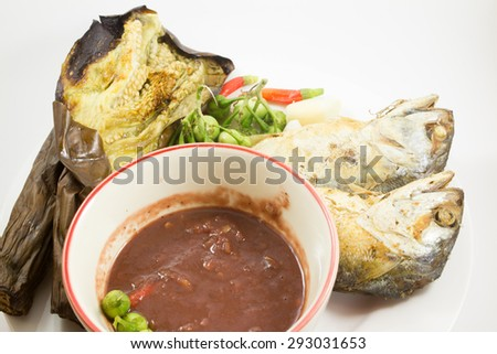 chili paste in thailand food white background