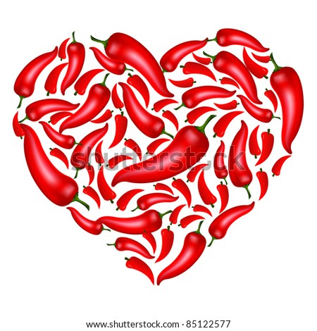 Chili Pepper Heart Shape, Isolated On White Background