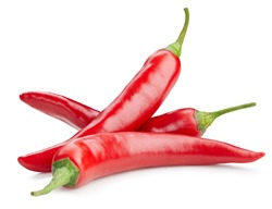 Chili pepper isolated on a white background. Chili hot pepper clipping path. Group chili peppers