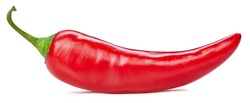 Chili pepper isolated on white background. Ripe chili pepper Clipping Path