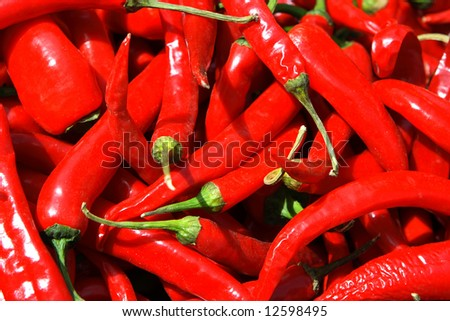 Chili peppers in the market