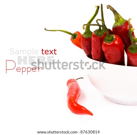 chili peppers over white