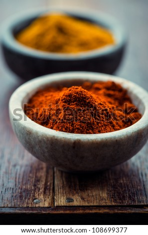 Chili powder and curry in small containers