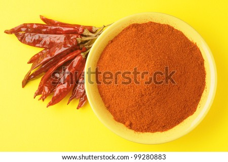 chili powder in yellow bowl on yellow background