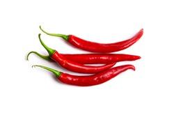 Chili spur pepper ( Cayenne pepper, long fed pepper, spur pepper) on white background