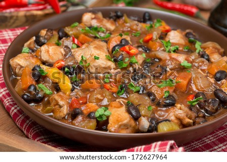chili with black beans and chicken, close-up, horizontal