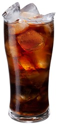 Chilled glass of cola drink with ice cubes isolated on white background. File contains clipping path.
