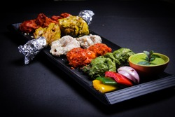 Chilli Chicken Dry Gravy Kabab Tikka Platter Chinese Tandoor Roasted