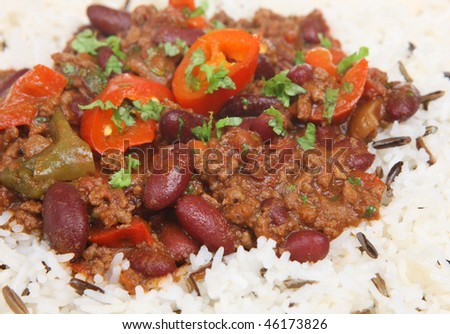 Chilli con carne with wild rice - stock photo