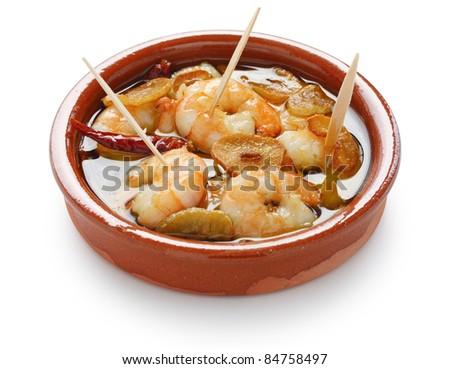 chilli garlic prawns , spanish tapas cuisine