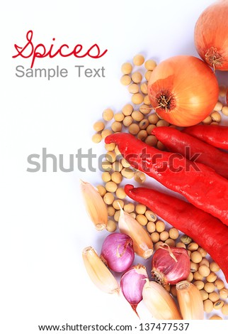 Chilli, Onion, and Garlic on White Background