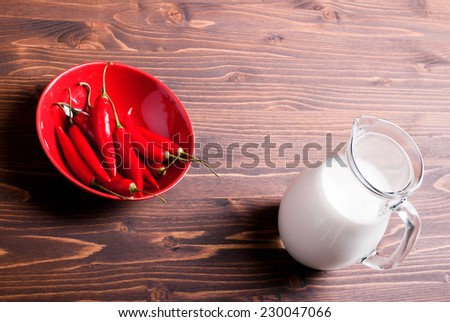 chilli peppers in a red plate and jug of milk on a brown table top view and side view