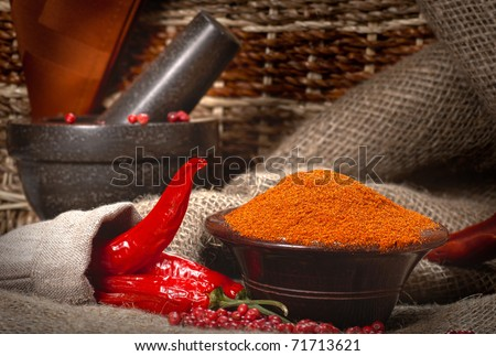 Chillies with granite pestle and mortar