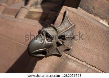 Chimera (gargoyle)Strasbourg Cathedral (Cathedral of Our Lady of Strasbourg or Cathedrale Notre-Dame de Strasbourg, 1015 - 1439) - Roman Catholic cathedral in Strasbourg, Alsace, France