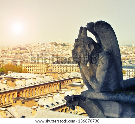 Chimera on Notre Dame de Paris, Paris, France