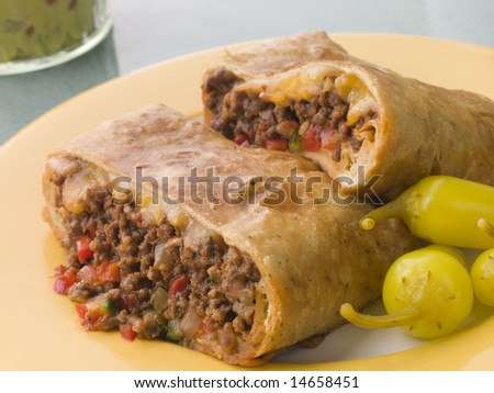 Chimichanga with Pickled Chillies and Guacamole