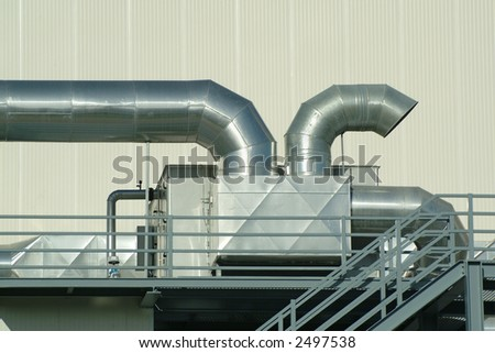 Chimney and pipes of ventilation in plant