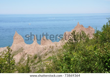 Chimney Bluffs State Park on Lake Ontario near Great Sodus Bay, New York State