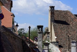 Chimney games on Old Town Sibiu Romania view from Dog Back - Centumvirilor street