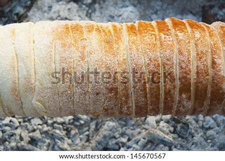 chimney stack brioche baking on charcoal