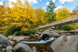Chimney Tops trailhead in Fall - Great Smoky Mountains National Park