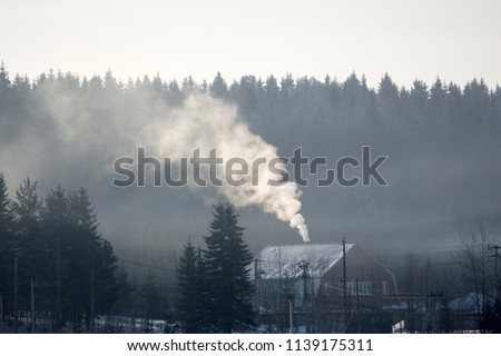 Chimney with neglected maintenance emitting air pollution due to improper burn of solid fuels in wood stove during heating season