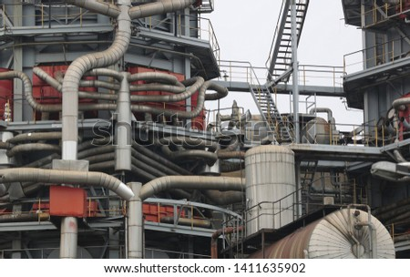 Chimneys at heating plant during the winter part of the season. stock photo