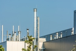 Chimneys of an industrial plant
