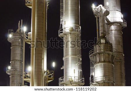 Chimneys of an oil-refinery plant