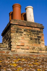 Chimneys on typical english house.