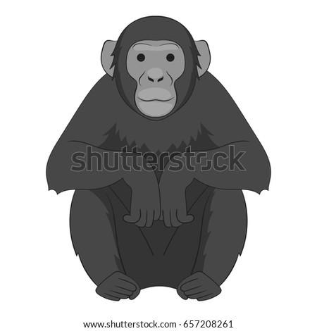 Chimpanzee icon in monochrome style isolated on white background  illustration