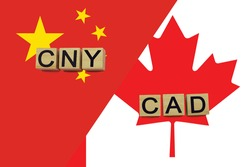 China and Canada currencies codes on national flags background. International money transfer concept