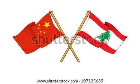China and Lebanon alliance and friendship - stock photo