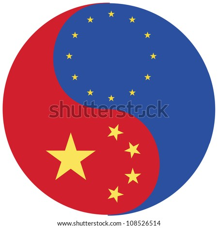 China and the EU. Symbol for the strong relationship between the European Union and China