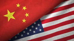 China and United States two flags textile cloth, fabric texture