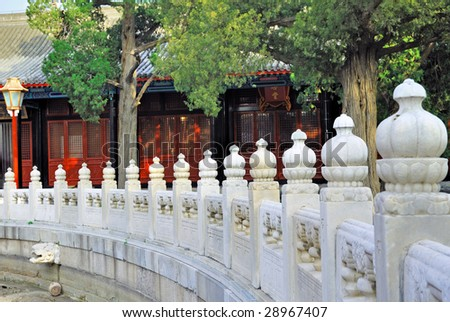 China, Beijing ancient Confucian temple marble handrail.