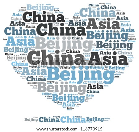 China beijing info-text graphics and arrangement concept on white background (word cloud)
