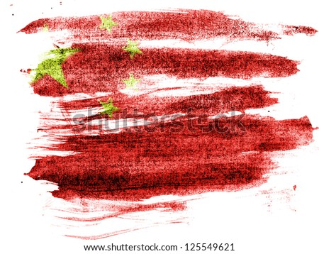 China. Chinese flag  painted on paper with colored charcoals