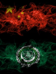 China, Chinese vs Arab League smoky mystic flags placed side by side. Thick colored silky abstract smoke flags.