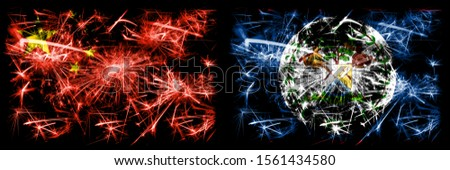 China, Chinese vs Belize, Belizean New Year celebration travel sparkling fireworks flags concept background. Combination of two abstract states flags.