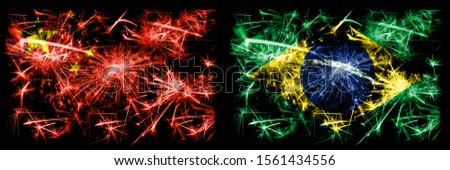 China, Chinese vs Brazil, Brazilian New Year celebration travel sparkling fireworks flags concept background. Combination of two abstract states flags.