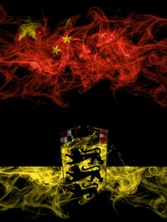 China, Chinese vs Germany, German, Deutschland, Baden Wurttemberg smoky mystic flags placed side by side. Thick colored silky abstract smoke flags.
