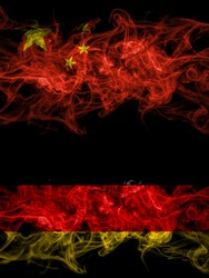 China, Chinese vs Germany, German, Deutschland smoky mystic flags placed side by side. Thick colored silky abstract smoke flags.