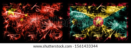 China, Chinese vs Grenada New Year celebration travel sparkling fireworks flags concept background. Combination of two abstract states flags.